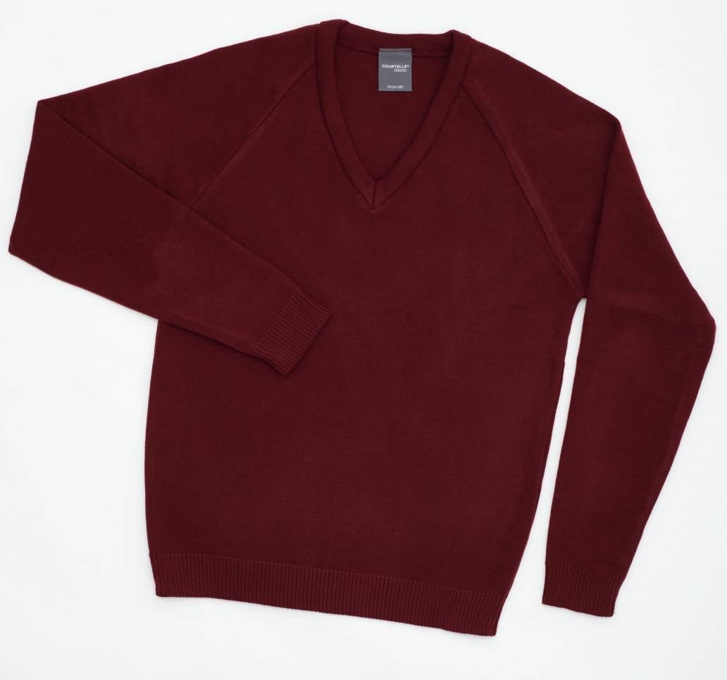 Courtelle Classic V-Neck Pullover MAROON/32