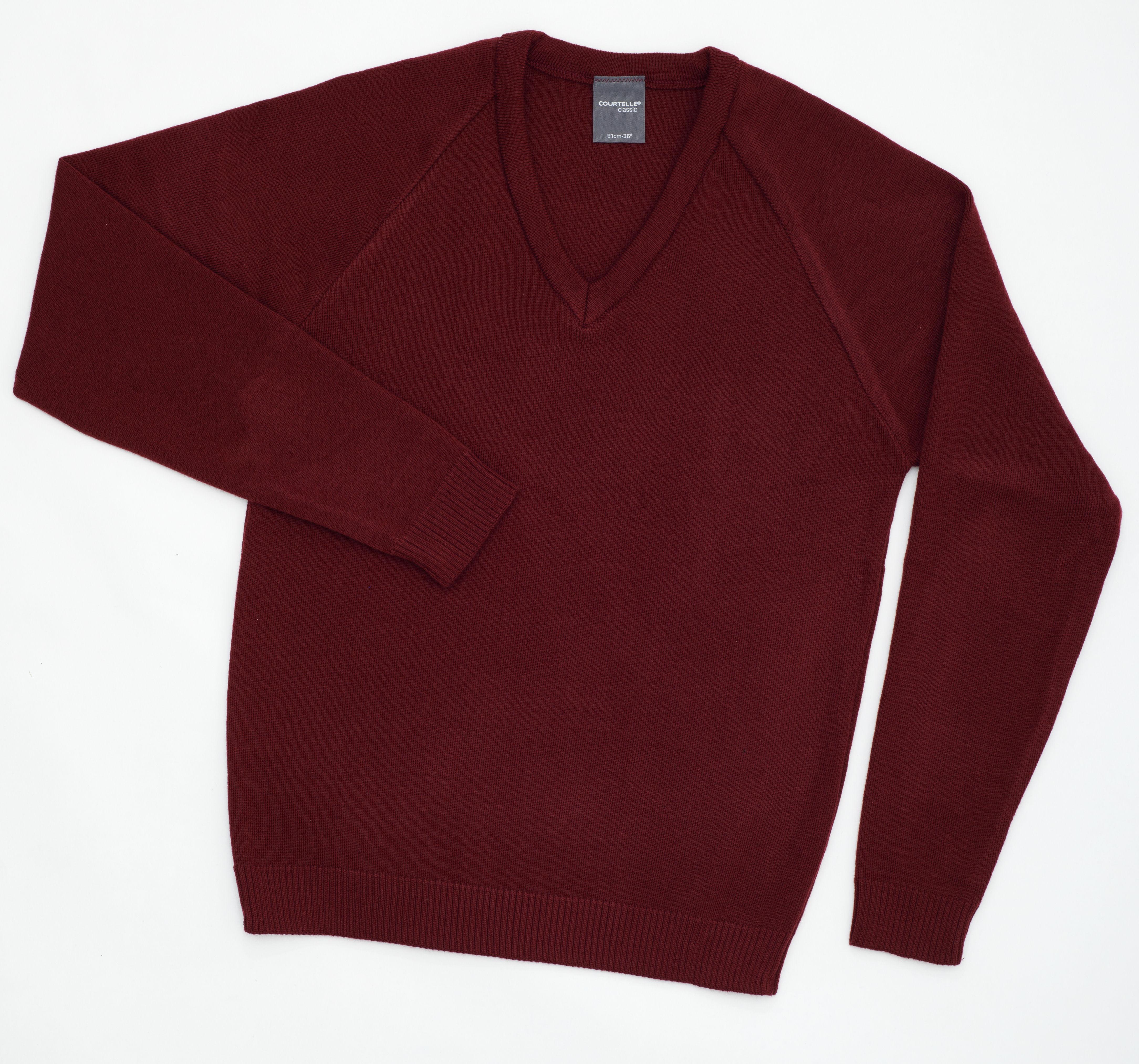 Courtelle Classic V-Neck Pullover MAROON/32