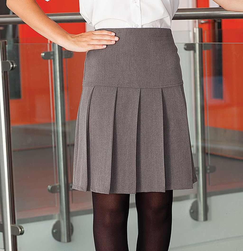 Ages 2-16 Girls School Skirt Box Pleated All round Elasticated Knee Length Grey