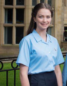 Short Sleeve Rever Collar Non-Iron School Blouse -Twinpack (Trutex)