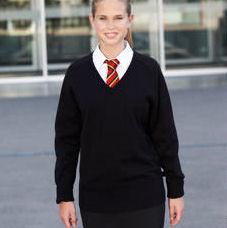 Girls Fit V-Neck Cotton Pullover - Trutex