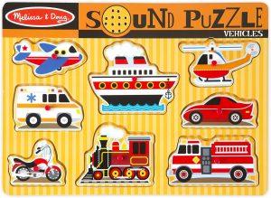 Melissa & Doug 10725 Vehicles Sound Puzzle, Assorted Colours