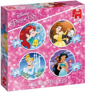 Jumbo 19756 Disney Princess-4 in 1 Round Puzzles
