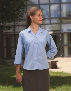3/4 Sleeve Rever Collar Semi-fitted School Blouse (Banner)
