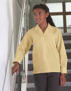Long Sleeve Rever Collar Non Iron School Blouse -Twinpack (Banner)