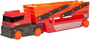 HOT WHEELS MEGA RED HAULER WITH STORAGE FOR 50 1:64 CARS -  GRH48