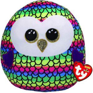"Ty UK Ltd 39191 Owen Owl Squish A Boo Plush Toy, Multicoloured, 12"""